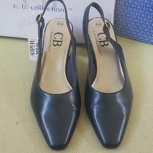 Navy slingback heels